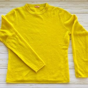J Crew 100% Cashmere Lemon Yellow Sweater Sz L